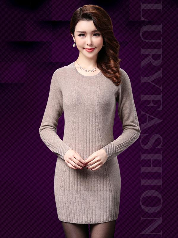 Váy len trơn body cổ tròn thời trang TV150