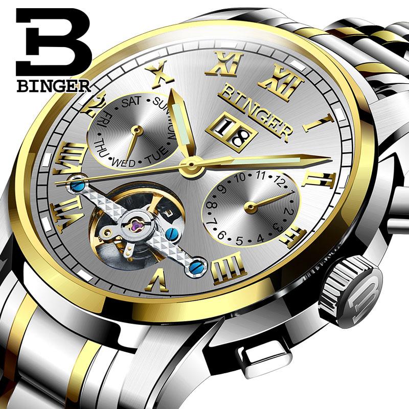 Đồng hơ cơ nam Binger mặt số La Mã chính hãng cao cấp (dây kim loại) DH978 (Mặt xám dây bạc vàng)