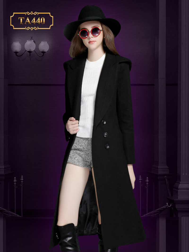 Áo khoác dạ đen dài tay phối 5 khuy nhỏ cao cấp TA440