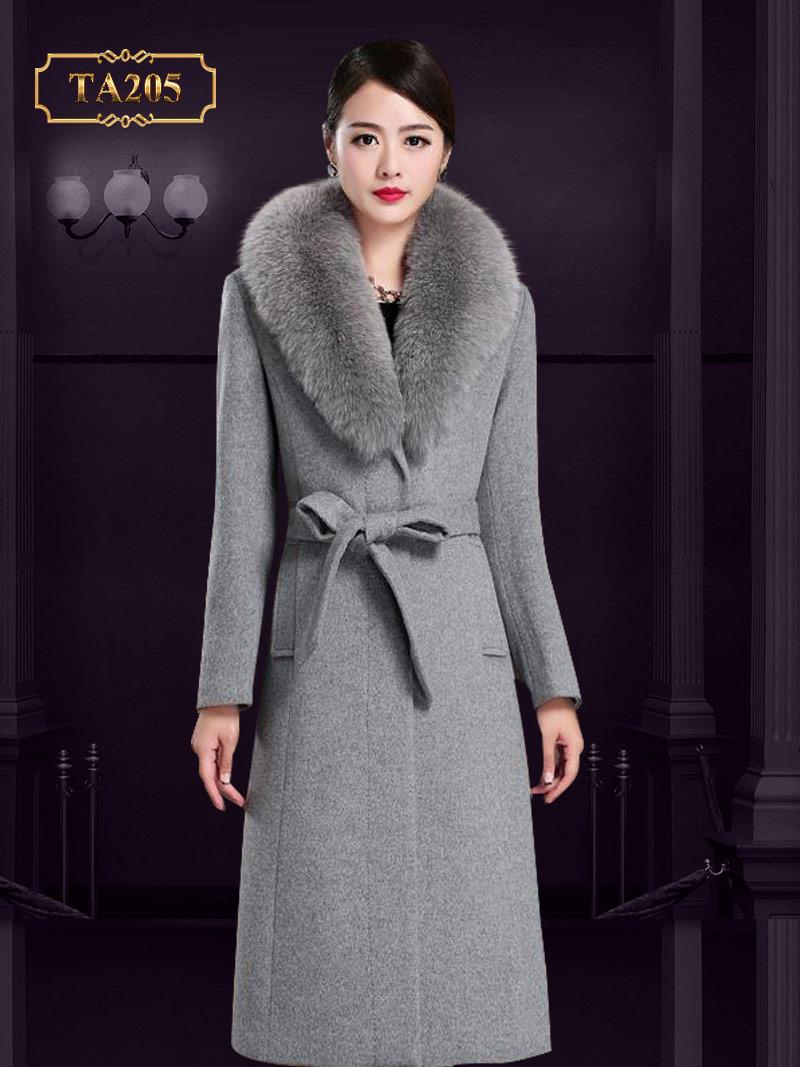Áo choàng dạ cổ lông chồn cao cấp mới 2019 TA205