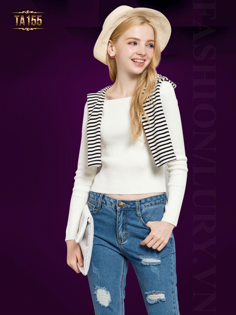 Áo len trơn một màu dáng ngắn TA155