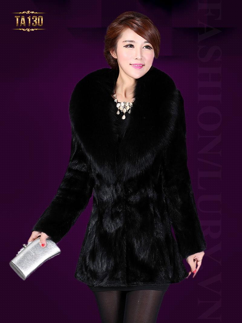 Áo khoác lông chồn cao cấp màu đen TA130