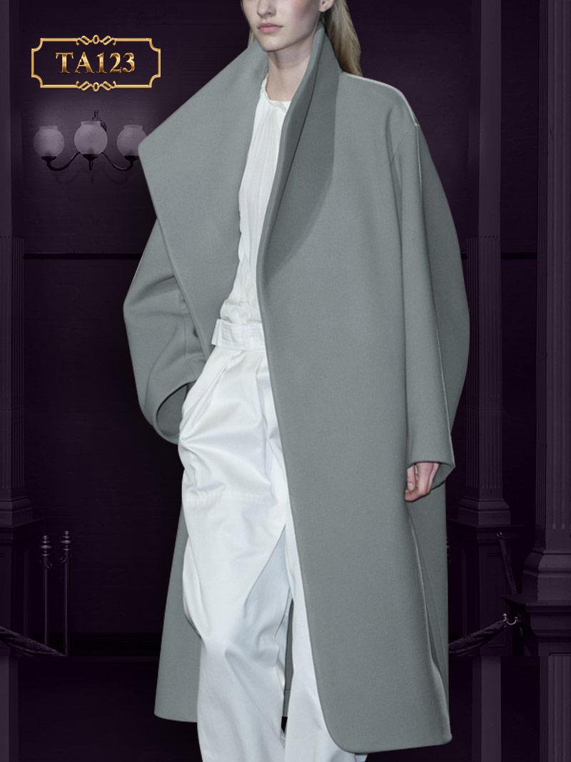 Gam màu ghi xám cao cấp, cách thiết kế dáng áo khoác dạ kiểu oversize sành điệu TA123