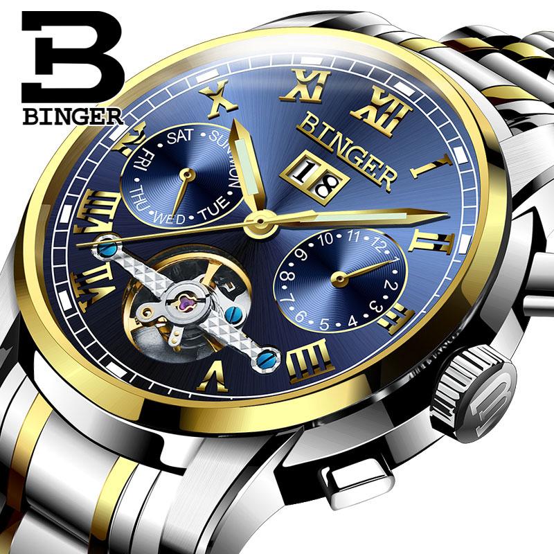 Đồng hơ cơ nam Binger mặt số La Mã chính hãng cao cấp (dây kim loại) DH978 (Mặt xanh dây bạc vàng)