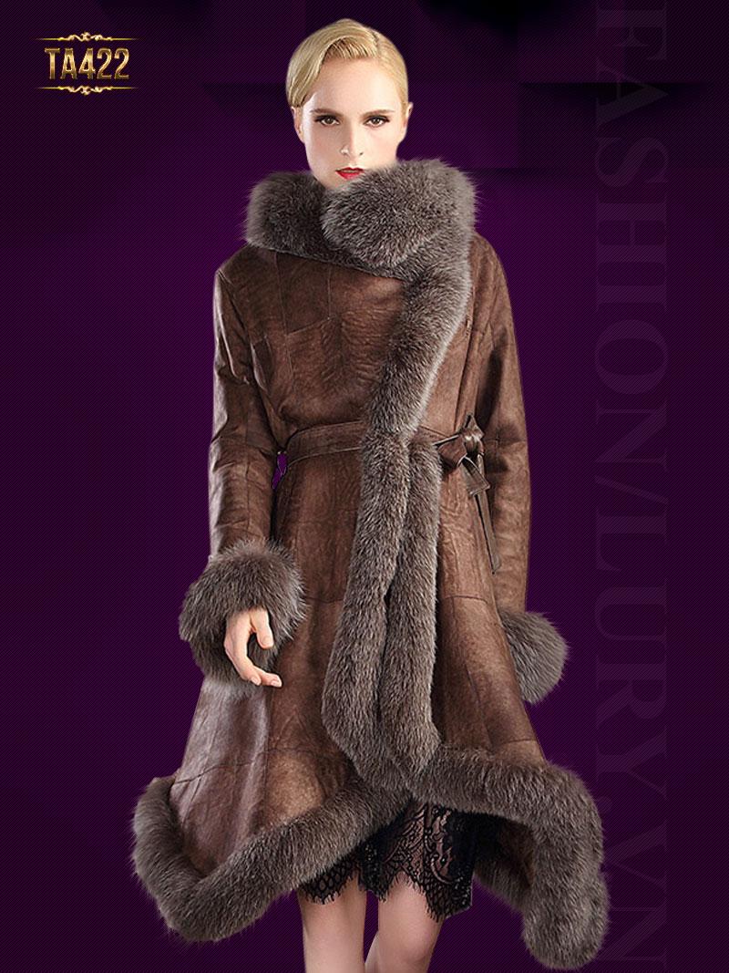 Đẳng cấp hơn với mẫu áo khoác da hàng xuất khẩu phối lông chồn cao cấp TA422