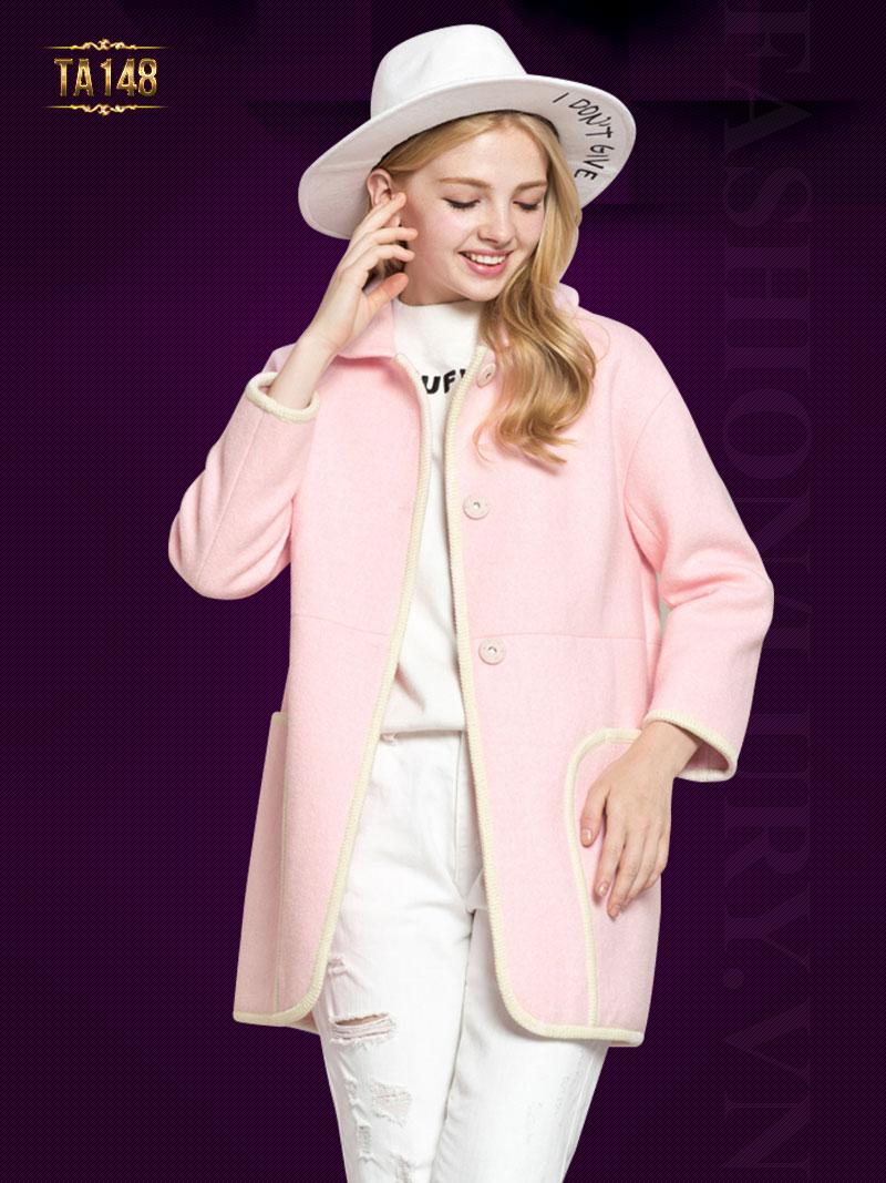 Áo khoác dạ hồng oversize khuy bấm TA148