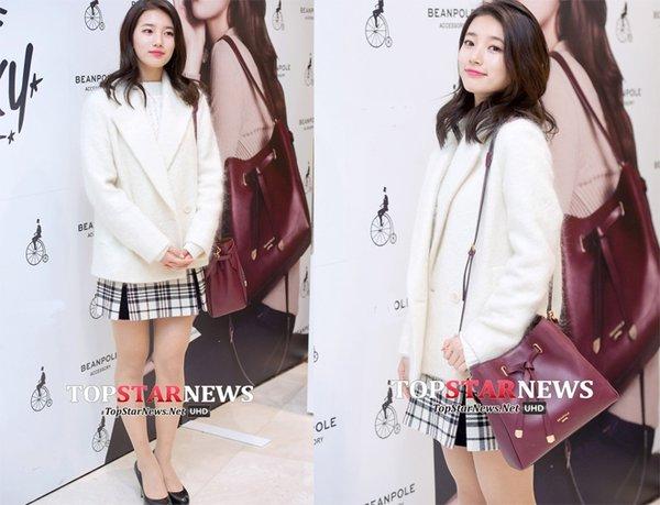 Suzy khoe nét đẹp ngọt ngào, quyến rũ với chiếc áo dạ dáng ngắn màu trắng mix cùng chân váy và giầy cao gót