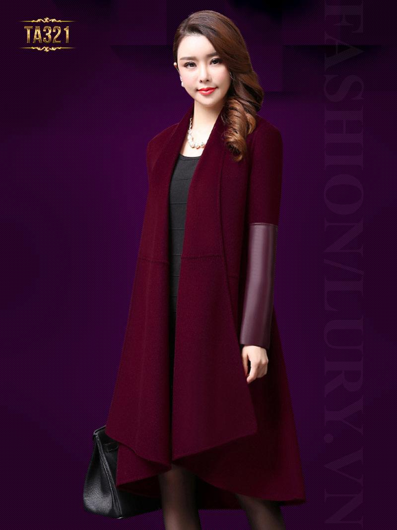 Chiếc áo dạ thiết kế theo phong cách Hàn Quốc tay phối da thời trang TA321