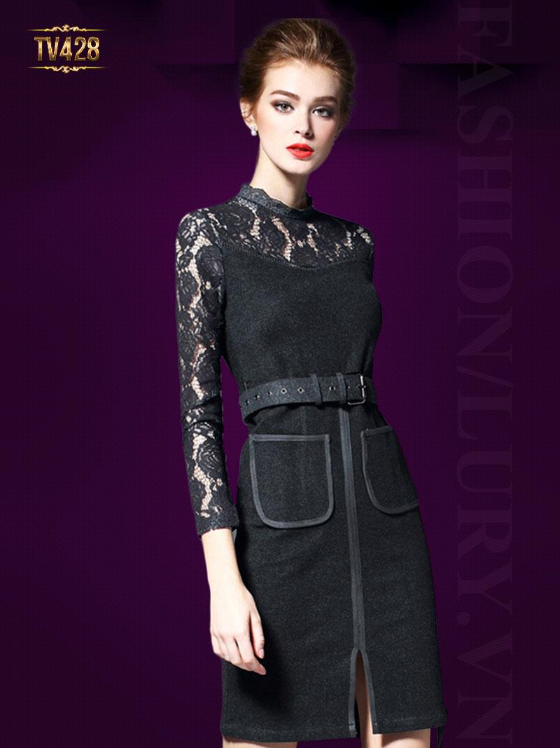 Váy dạ body phối ren kèm dây đai cao cấp TV428