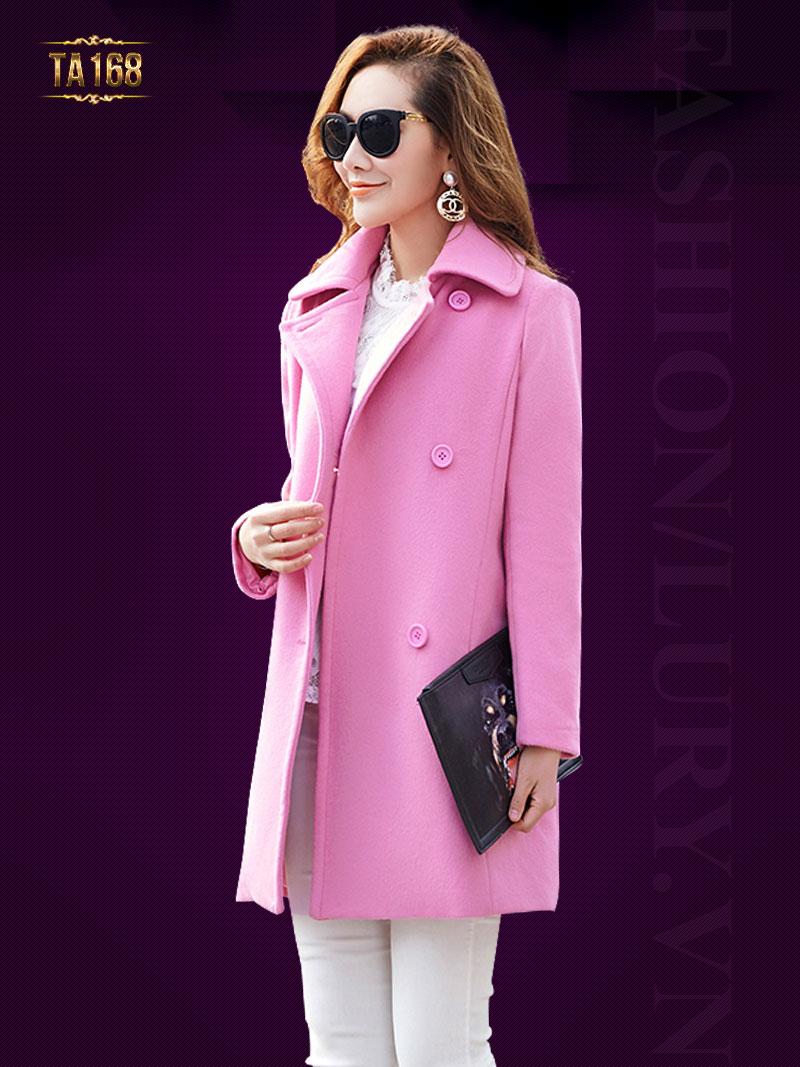 Mẫu áo dạ dáng dài đẹp gam màu hồng trẻ trung và rất nữ tính TA168