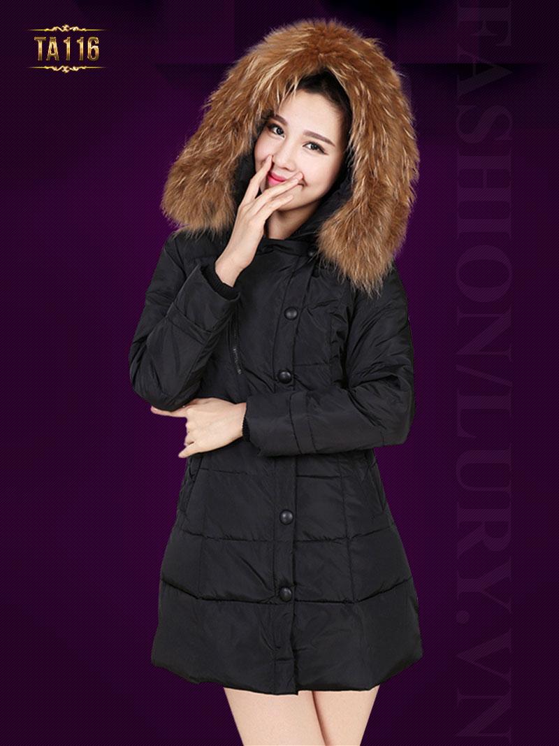 Áo phao nữ Hàn Quốc phối lông chồn cao cấp TA116