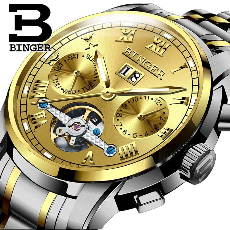 Đồng hơ cơ nam Binger mặt số La Mã chính hãng cao cấp (dây kim loại) DH978 (Mặt vàng dây bạc vàng)