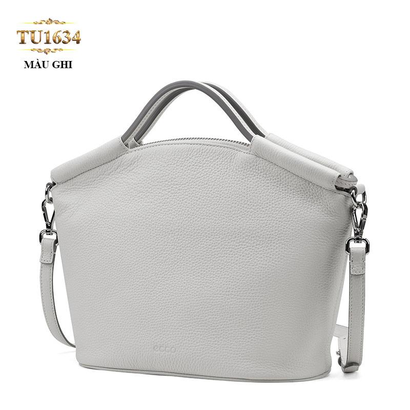 Túi xách đeo cao cấp dáng hến da thật màu ghi cao cấp TU1634