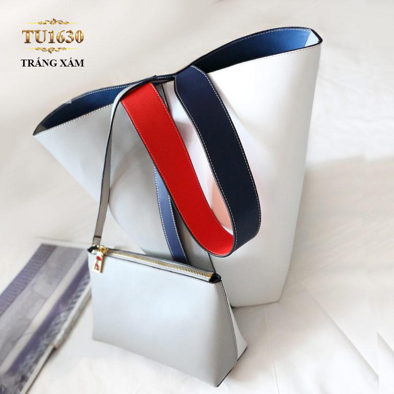 Túi bucket cao cấp quai xách bản to thời trang TU1630 (Trắng xám)
