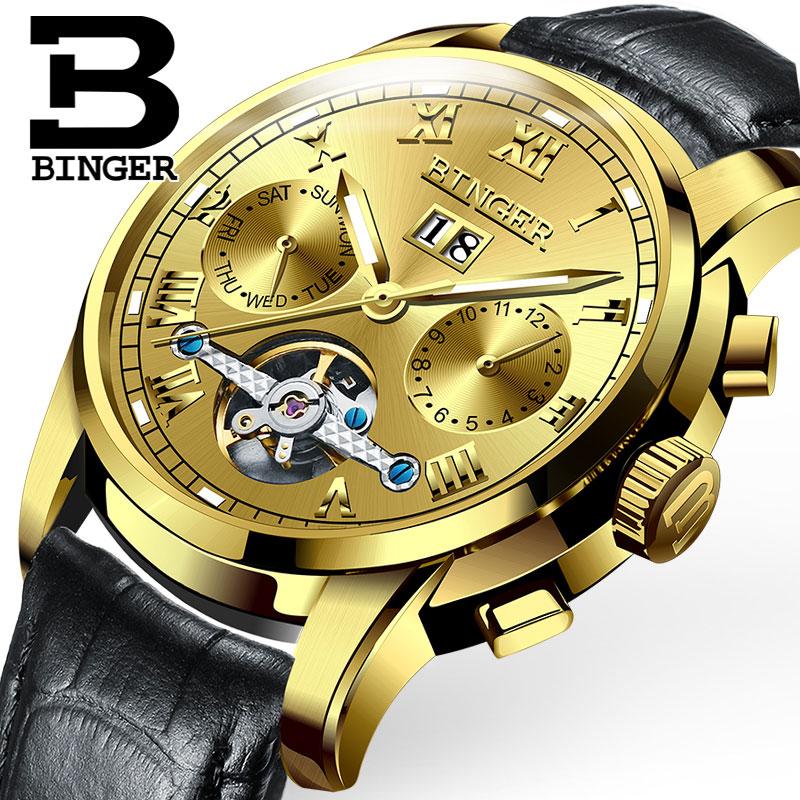 Đồng hơ cơ nam Binger mặt số La Mã chính hãng cao cấp (Dây da) DH978 (Mặt vàng dây đen)