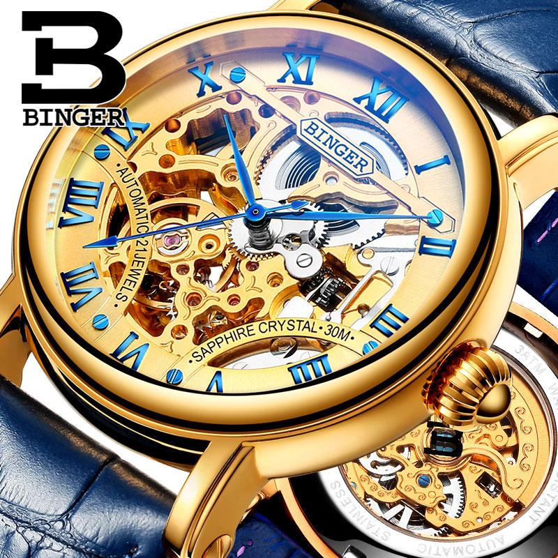 Đồng hồ cơ nam Binger chính hãng cao cấp (dây da) DH976 (Mặt vàng dây xanh)