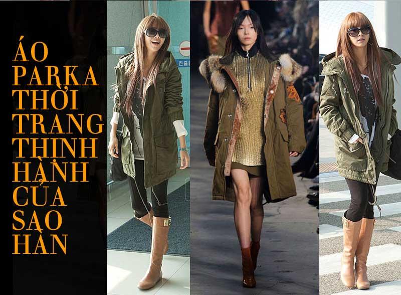 Áo khoác dạ nữ Parka ưa thích của các sao nữ Hạng A Hàn Quốc