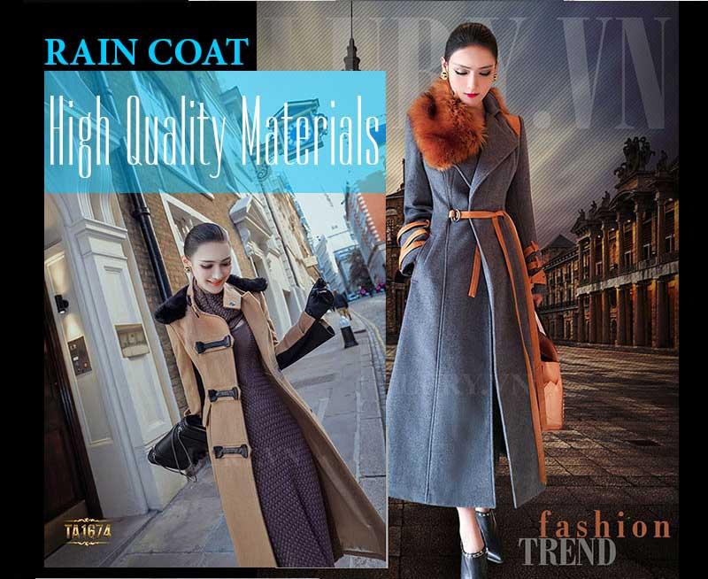 Áo khoác dạ Rain Coat cho cô nàng thời trang sành điệu, trẻ trung
