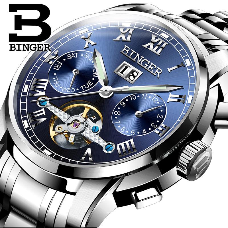 Đồng hơ cơ nam Binger mặt số La Mã chính hãng cao cấp (dây kim loại) DH978 (Mặt xanh dây bạc)