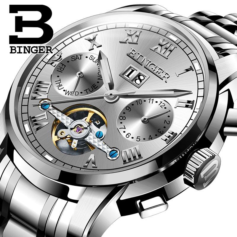 Đồng hơ cơ nam Binger mặt số La Mã chính hãng cao cấp (dây kim loại) DH978 (Mặt xám dây bạc)