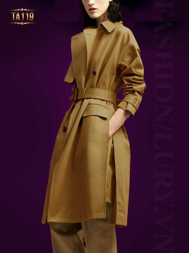Trendcoat kaki Hàn Quốc dáng dài cao cấp kèm đai TA119