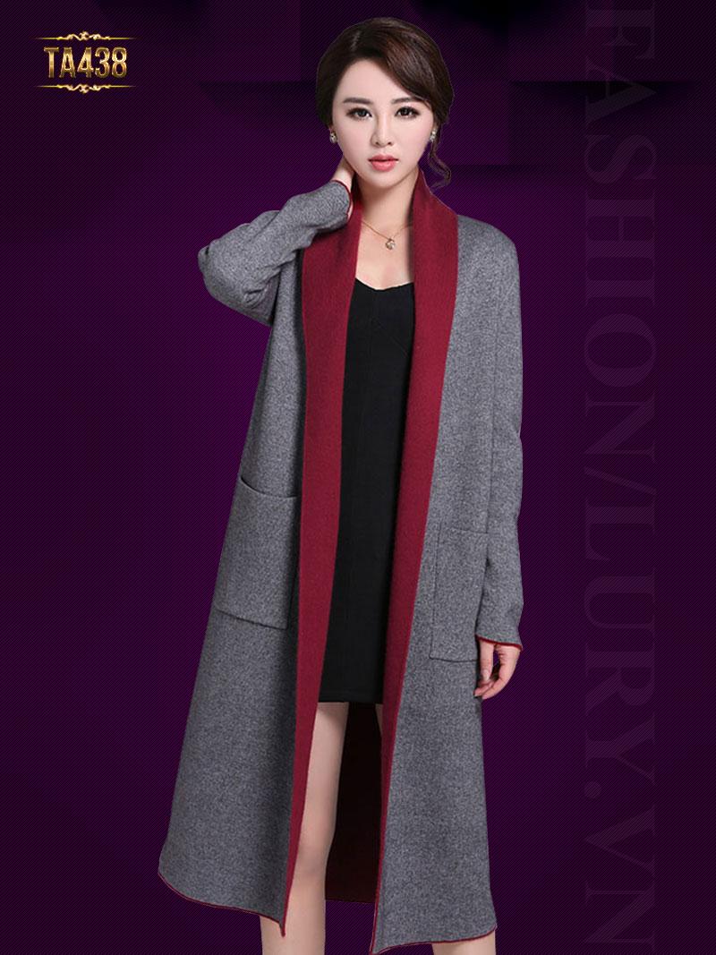 Áo khoác len Hàn Quốc 2 màu dáng dài túi vuông to đẹp TA438