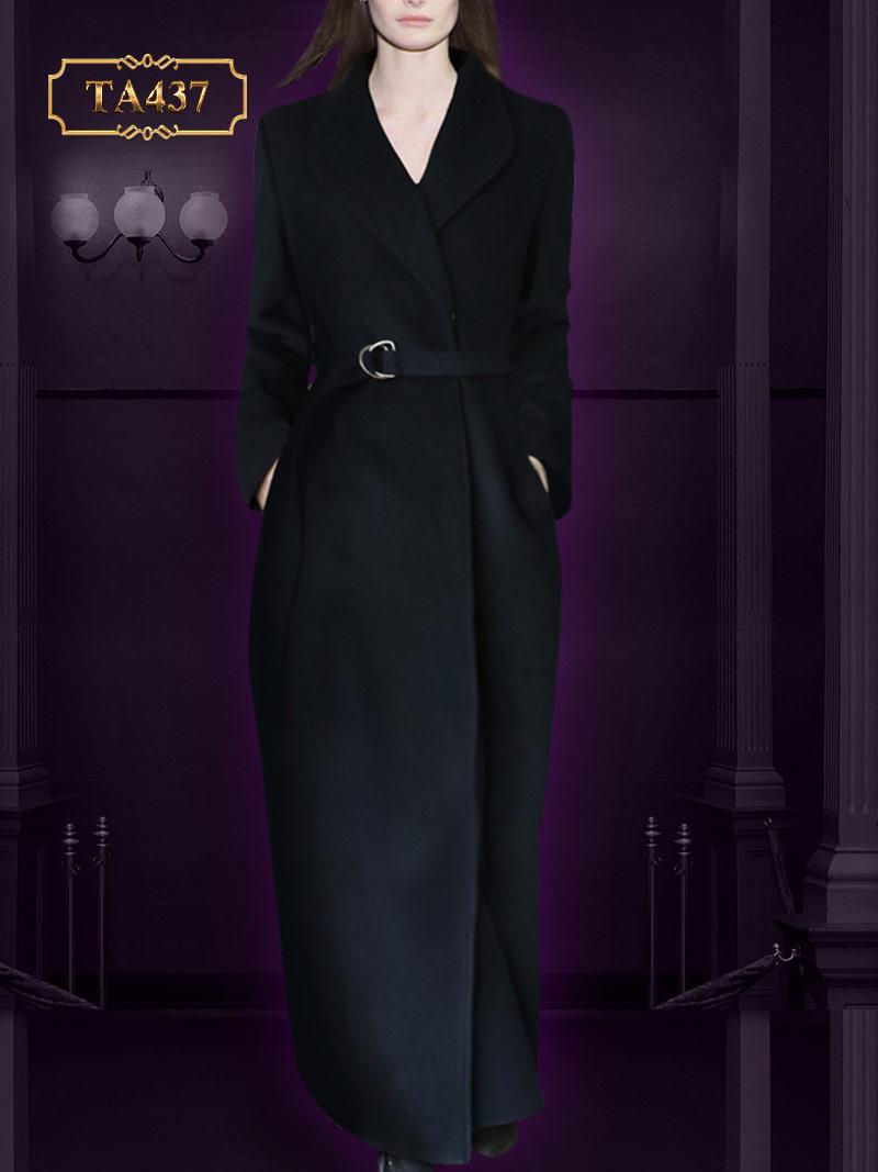 Áo khoác dạ cao cấp đen dài phối khuy bấm TA437 mới 2019