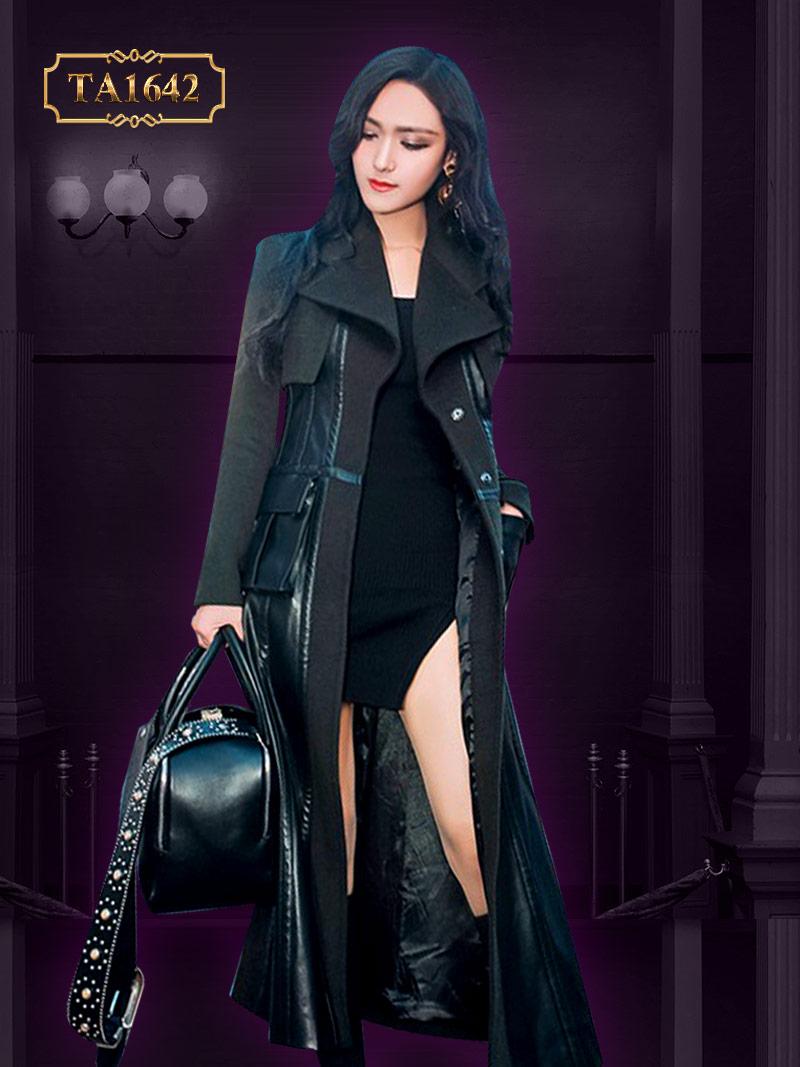 Áo khoác dạ dài  mới 2017 TA1642 phối da túi hộp phong cách