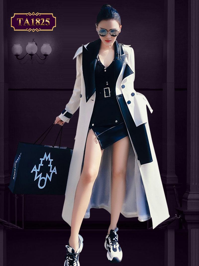 [New 2020] Áo khoác nữ dáng dài cổ vest 2 lớp tay bo đai cá tính TA1825