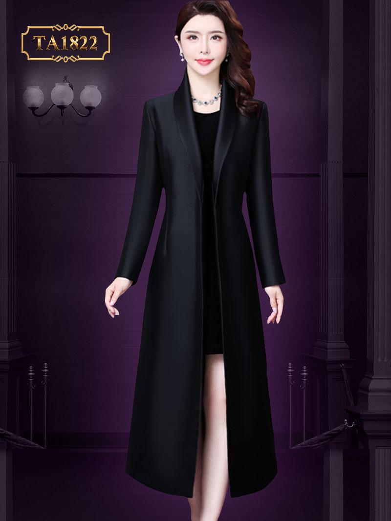 Áo khoác dạ đen dáng dài, cổ vest thắt nơ sang trọng TA1822