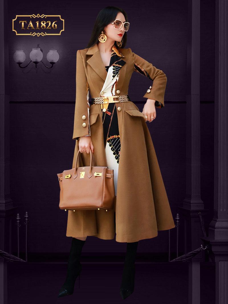 Áo khoác dạ họa tiết dáng vạt lệch túi nắp chéo thời trang TA1826