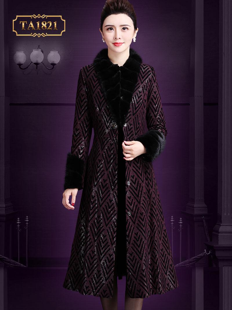 [New 2020]Áo khoác dạ họa tiết dáng dài cổ lông cúc cài trước đính đá sang trọng TA1821