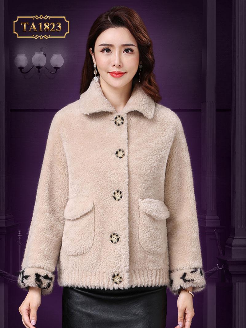 Áo khoác lông dáng ngắn túi áo nắp hộp thời trang TA1823