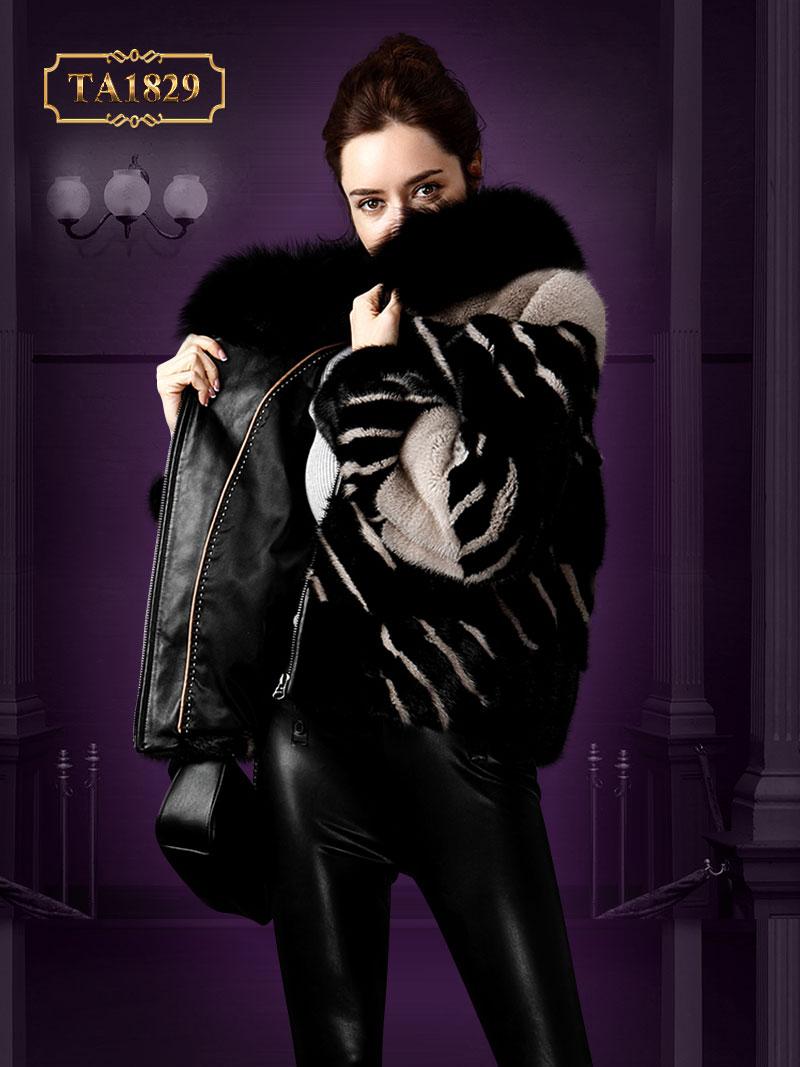 [New 2020]Áo khoác lông dáng ngắn oversize phối màu thời thượng TA1829