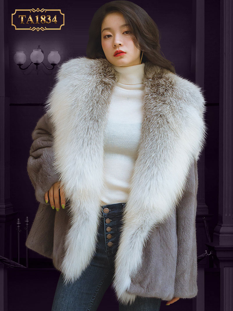 Áo khoác lông nhung cổ to bản dáng ngắn sành điệu TA1834