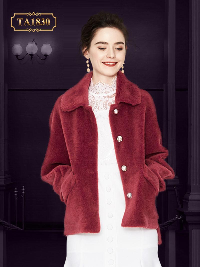 Áo khoác lông nhung cao cấp dáng ngắn tay bo kiểu cách TA1830