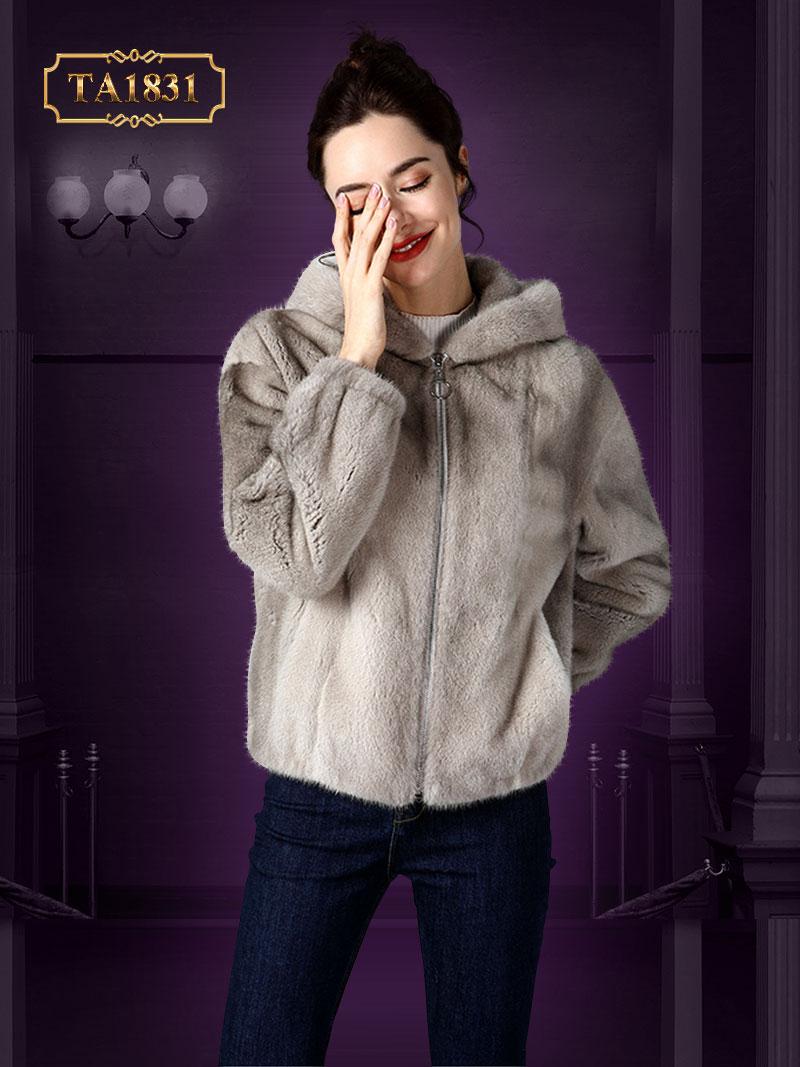 Áo khoác lông nhung có khóa kéo cao cấp thời thượng TA1831