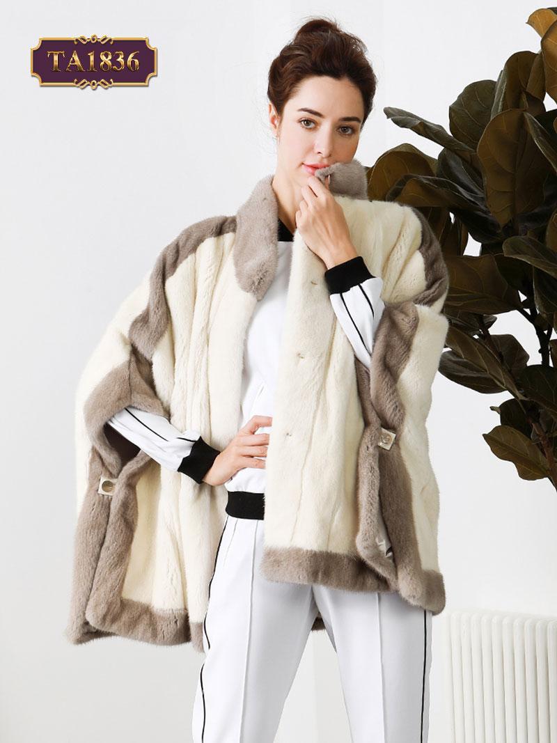 Áo khoác lông tay cánh rơi thời trang phối màu thanh lịch TA1836