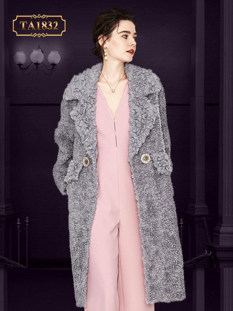 Áo khoác lông xù oversize cao cấp có túi nắp cúc thời trang TA1832