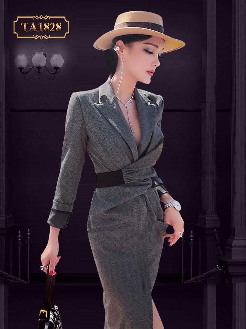 [New 2020]Đầm vest ghi liền đai xoắn eo cao cấp đầy phong cách TA1828