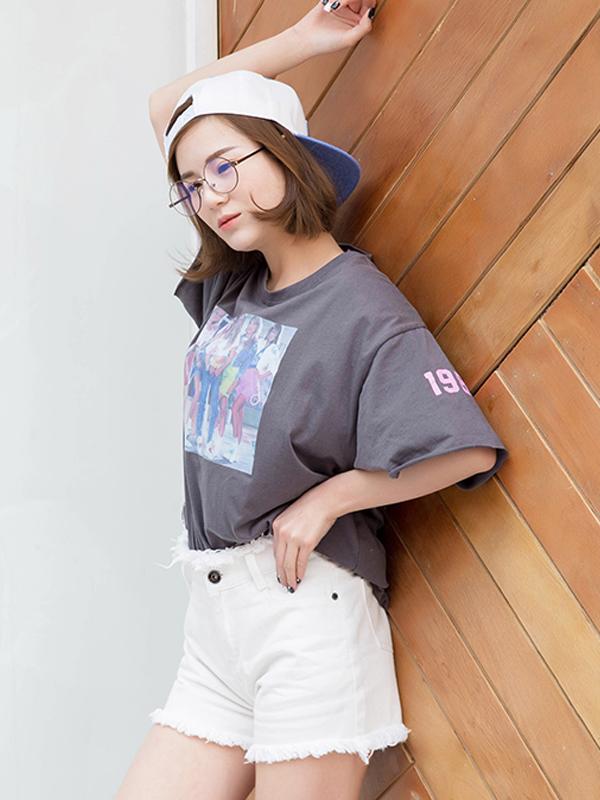 Quần short jean tua rua đẹp TQ1159 (Màu trắng)