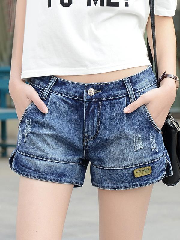 Quần short jean xẻ gấu thời trang TQ1173 (Xanh đậm)