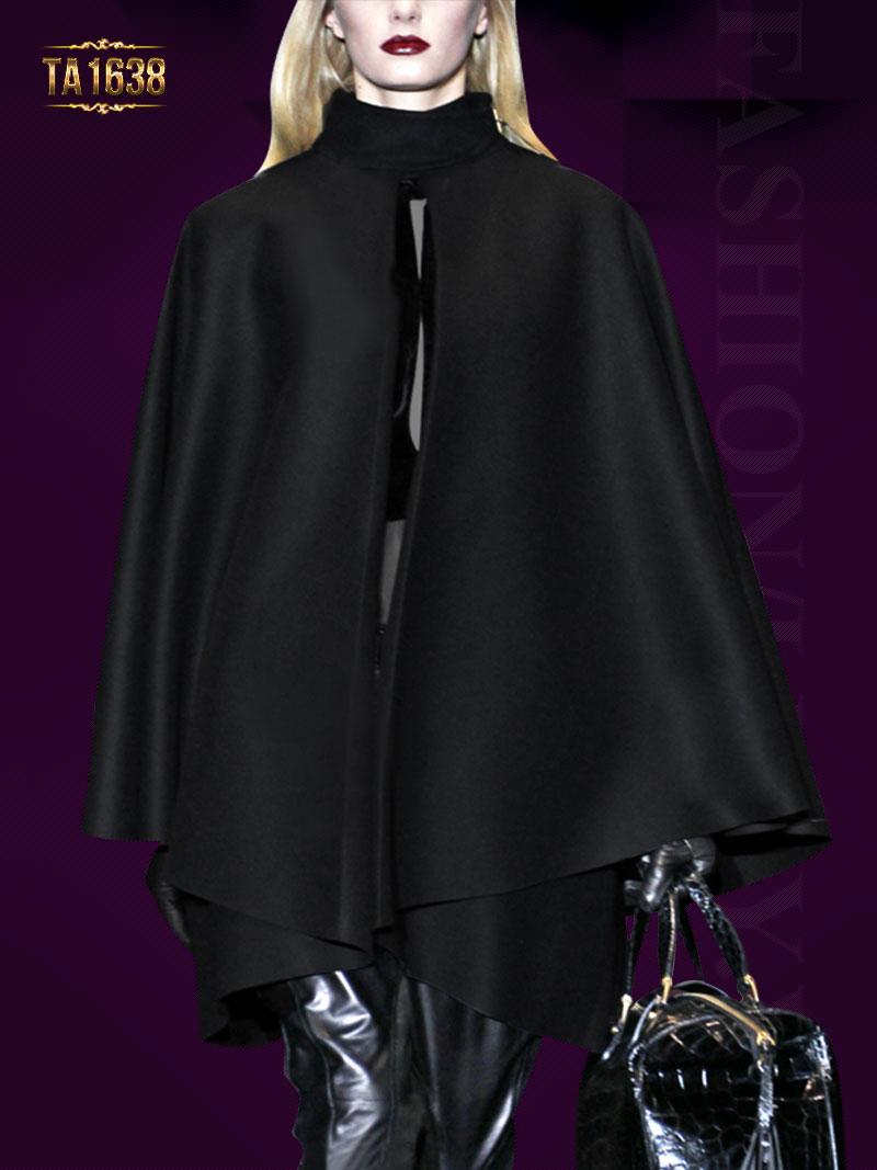 Áo choàng cape TA1638 cổ trụ màu đen thời thượng 2017