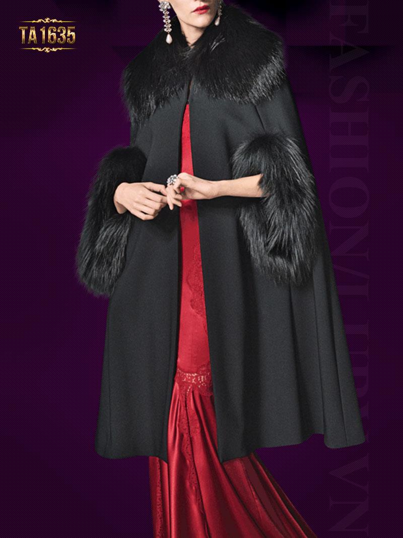 Áo choàng cape đen tay lỡ TA1635 mới 2017 phối lông nhập khẩu cao cấp