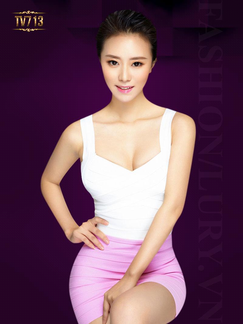 Áo cúp ngực hai dây dáng dài thời trang TV713 (Màu kem)