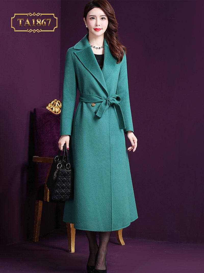 Áo khoác dạ xanh dáng dài cổ vest 2 cúc TA1867