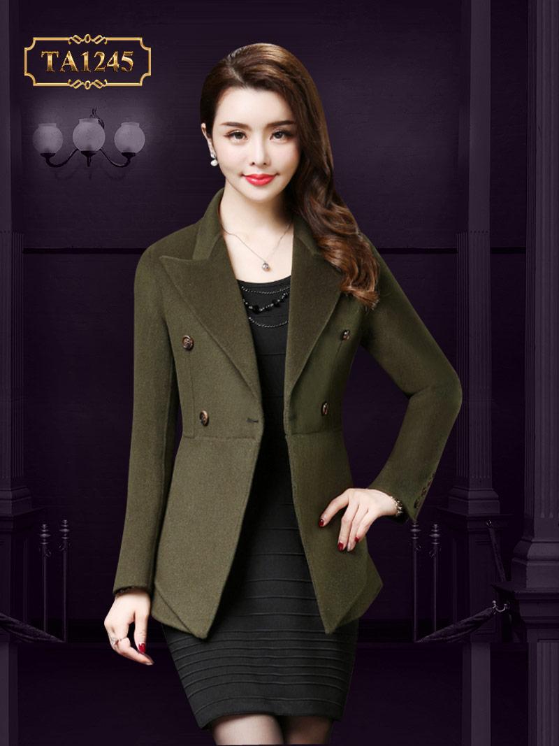 Áo khoác dạ cổ vest dáng ngắn tay khuy thời trang gam màu xanh rêu nhẹ nhàng TA1245