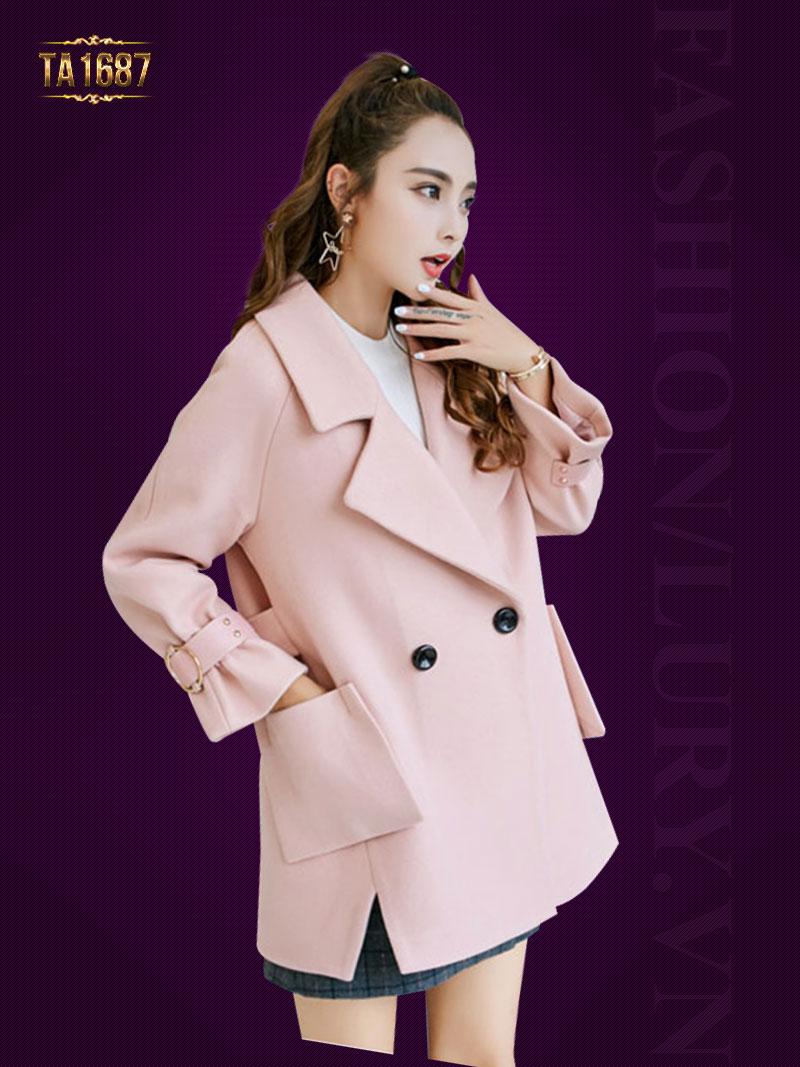 Áo khoác dạ TA1687 mới 2017 kiểu túi chéo xẻ vạt (Màu hồng)