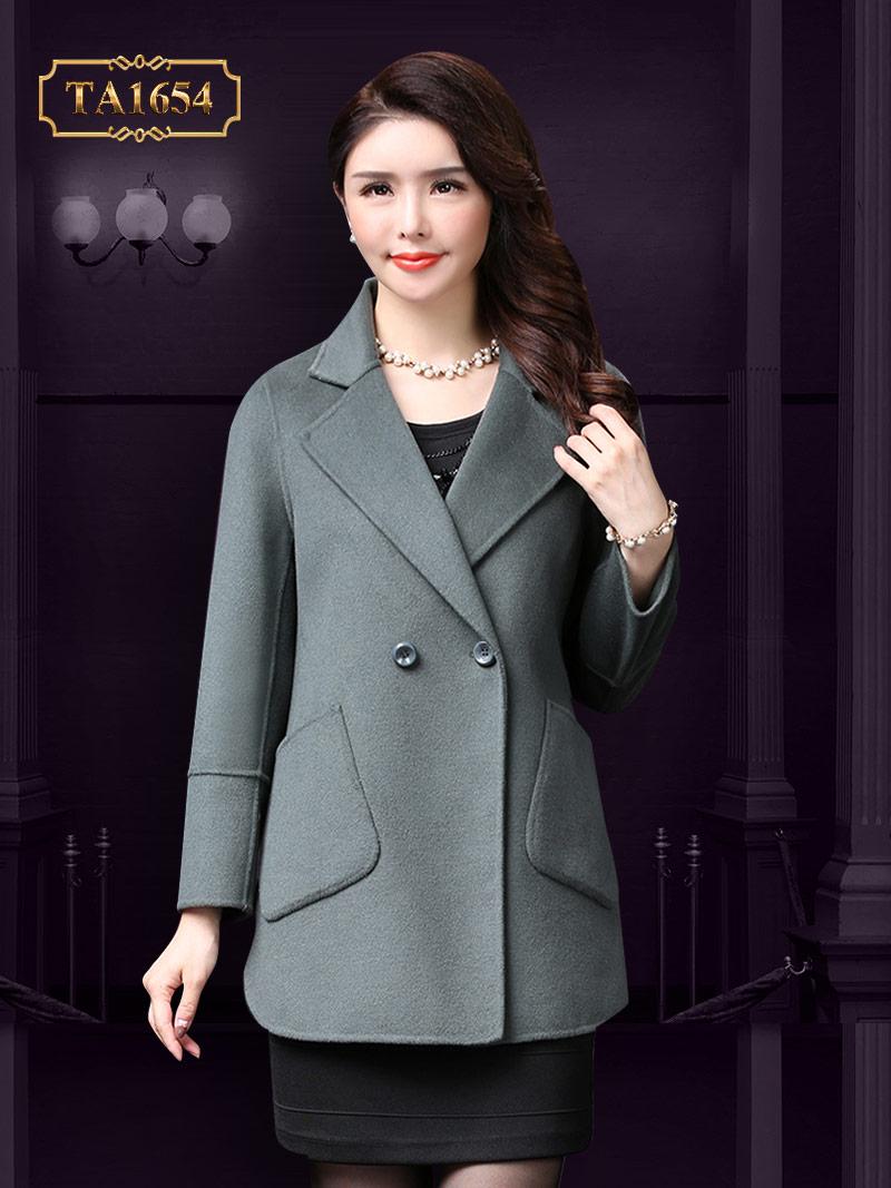 Áo khoác dạ TA1654 mới  kiểu túi lệch 1 cúc (Màu ghi)