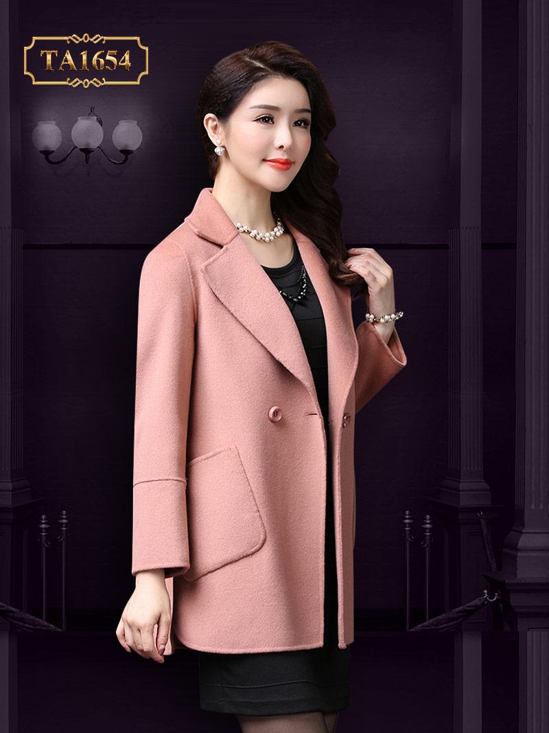 Áo khoác dạ TA1654 mới 2017 kiểu túi lệch 1 cúc (Màu hồng)